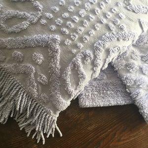 Vintage Lavender Chenille Blanket & 2 Shams 1950s